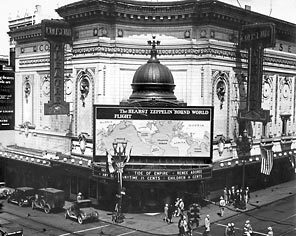 "Publisher William Randolph Hearst paid $200,000 for exclusive reporting rights of the Graf Zeppelin's 21-day trip around the world in 1929. The big blimp neither stopped in nor flew over Seattle; still, a world map was attached to the front of the Coliseum Theatre as part of the promotion. So that the pedestrians at Fifth Avenue and Pike Street might be impressed, the lettering for ""Seattle"" was made larger than for any other city."