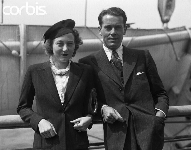 04 Sep 1936, New York, New York, USA --- 9/4/1936-New York, NY-Henry Fonda, film star, and Mrs. George (Frances) T. Brokaw, New York society woman who he is reported to soon marry, are pictured upon their arrival in New York City Sept. 4, on the S. S. Bremen. --- Image by © Bettmann/CORBIS