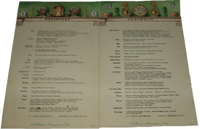 Holland america line history ss nieuw amsterdam the most breakfast and luncheon menu from 1963 publicscrutiny Image collections