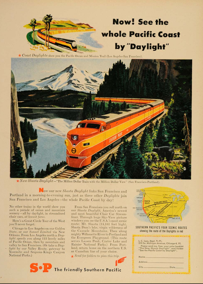 Vinatage Railroad Ads From 1930s To 1950s When Traveling