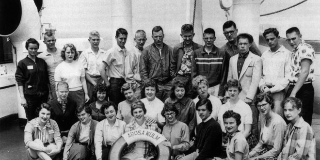 SAILING ABOARD THE AROSA LINE in the 1950s.  Students and immigrants to and from Europe…