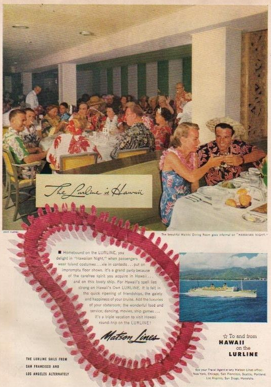 THE LURLINE IS HAWAII... magazine ad from the 1950s...