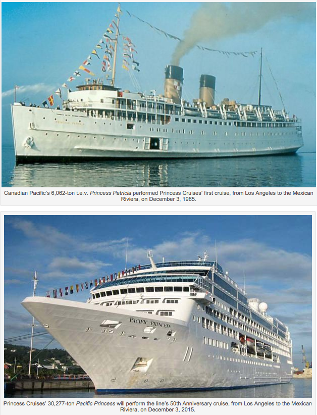 Last week Princess Cruises announced that it was scheduling the Pacific Princess (above) for a 14-night 50th Anniversary cruise from Los Angeles to the Mexican Riviera on December 3, 2015, fifty years to the day after the chartered Princess Patricia (top) departed on her first voyage for the new line.
