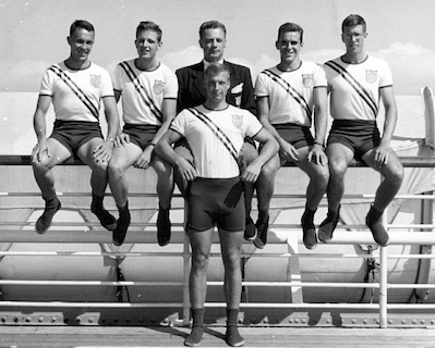 USA Olympic Rowing Team sails for London 1948 Olympics aboard the liner SS America.