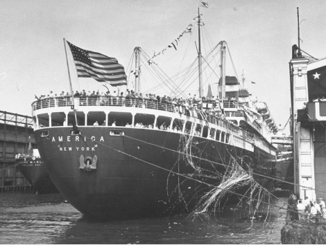 The USA Olympic Team sails from New York aboard the liner SS America to London 1948 Olympics.