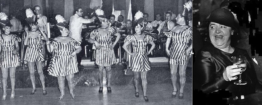 Elsa Maxwell and a line of chorus girls...