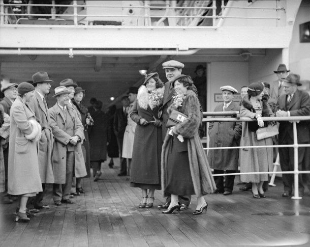 Babe Ruth with daughter Julia (left) and wife Claire on deck of Empress of Japan in Vancouver harbor on Oct. 20, 1934.