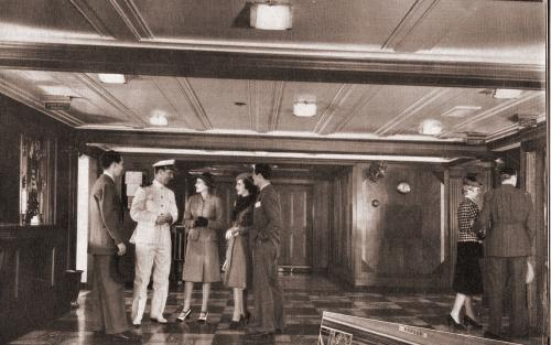 The lobby and cruise passengers aboard the SS Morro Castle.