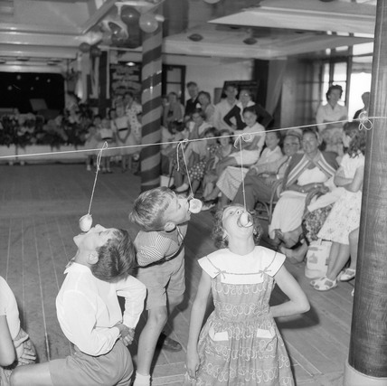 Children's games aboard the RMS Orcades sailing from the UK to Australia.
