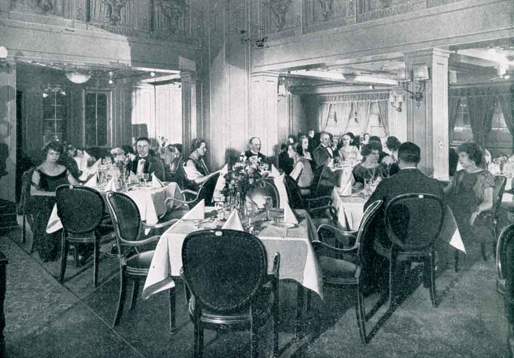 First Class Dining Room - SS Columbus. 1920s.