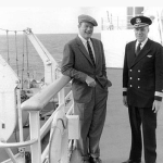 John Wayne and SS United States Captain ... aboard the  SS UNITED STATES... 1950s.