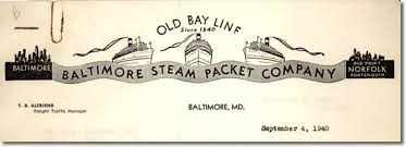 Corporate letterhead of the Old Bay Line...