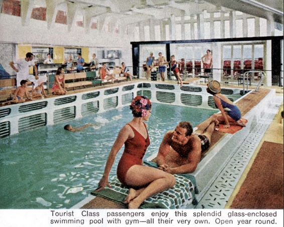Tourist Class swimming pool on the SS France...