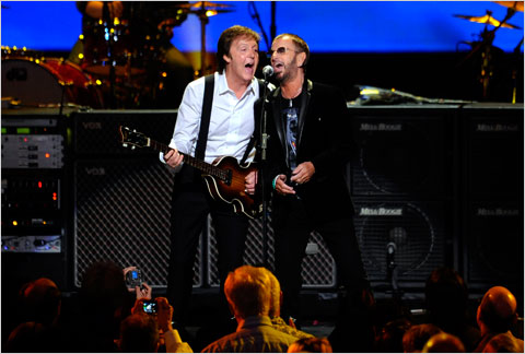 Former Beatles Paul McCartney and Ringo Starr perform at the Radio City Music Hall.