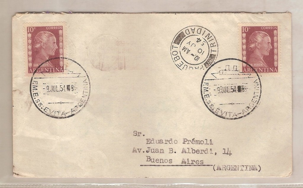 Letter post marked from the S.S. Evita in 1954.