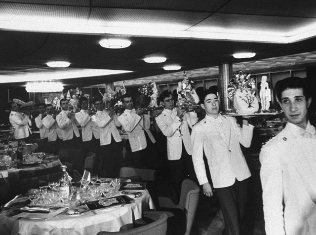 Dining in the 1960s aboard a cruise-ship...