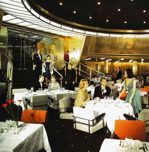 First Class restaurant on the SS France. Considered the finest French restaurant in the world.