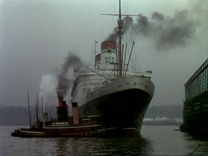 "The ship sailing from New York in the movie ""Gentlemen Prefer Blondes""... Looks like an Italian Lines ship..."