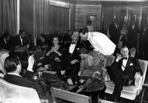 First Class passengers in the lounge... maiden voyage of the Andrea Doria...