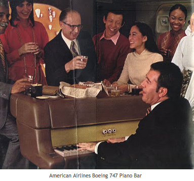 Piano bar on American Airlines... when flying was first class... even if you were in Coach...