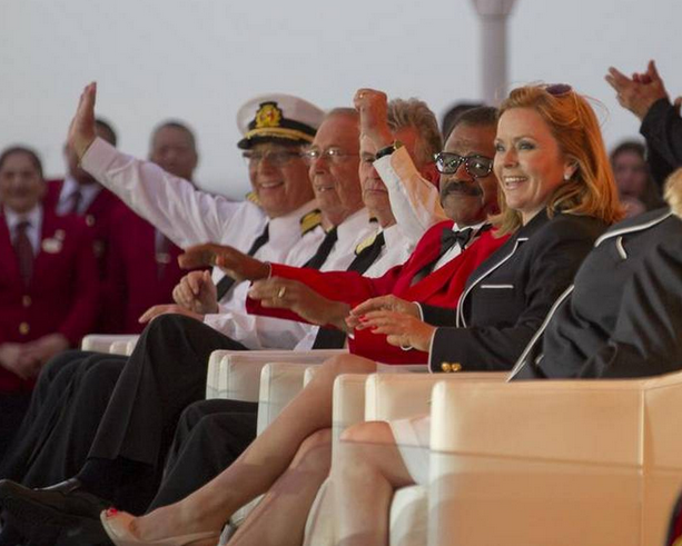 Love Boat cast members Gavin Macleod, Bernie Kopell, Fred Grandy, Ted Lange and Jill Whelan enjoy the Love Boat reunion aboard the new Regal Princess cruise ship.