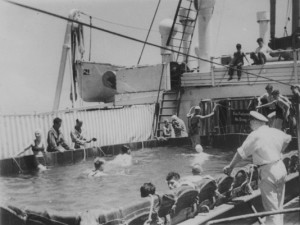 A canvas swimming pool aboard 1930s cruise-ship...