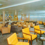 Raymond Lowe designed main lounge on the SS Atlantic. Ultimate in mid-century modern.