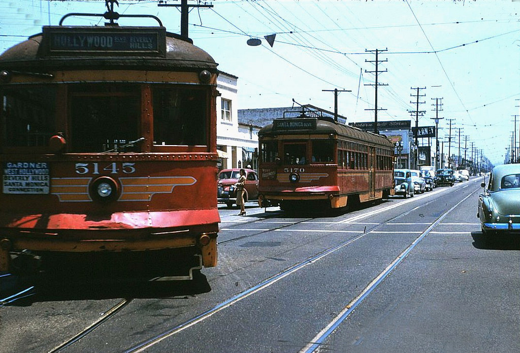 "Downtown Los Angeles to Beverly Hills – via Hollywood and West Hollywood –  aboard Pacific Electric's big ""Red Cars"" during the 1950s… 