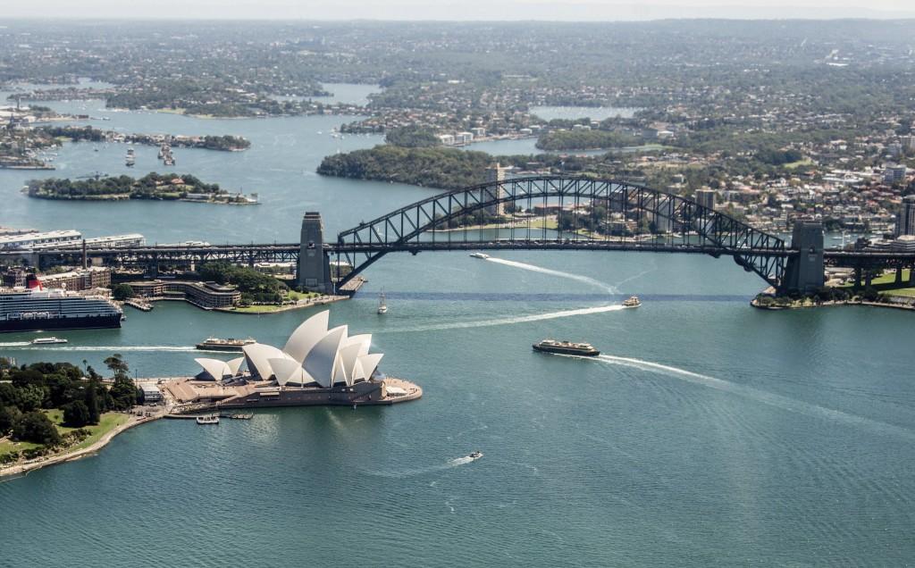 Beautiful shot of Sydney, Australia showing the Opera House and harbor bridge