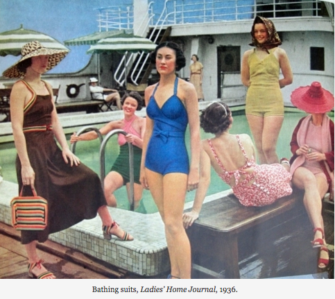 "From left, a brown maillot under a brown jersey wrap-around skirt; ""Up the ladder, skirted swim suit in the new green, with salmon-pink top, bands crossed under the chin. In blue, the famous surplice suit that came from Antibes and does wonders for a good figure. The printed cotton two-piece suit, coral pattern and coral color with white. The blonde lastex crepe suit, with the square peasant scarf worn in immigrant fashion. The heavy terry-knit maillot and swagger coat in pink and red, with a red shiny straw hat in unusual shape."" [A maillot is a one-piece swimsuit.] The brown outfit is trimmed with ""Mexican-colored bands"" and includes co-0rdinated purse, belt, and shoes."