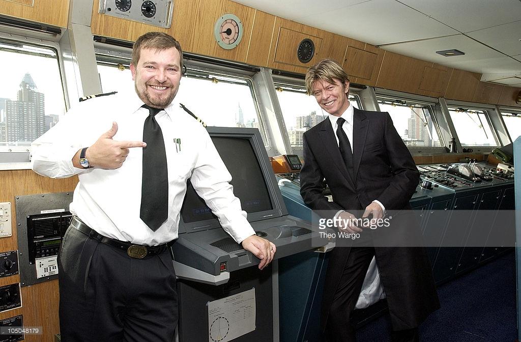 David Bowie on the bridge aboard Cunard Line's QE 2.