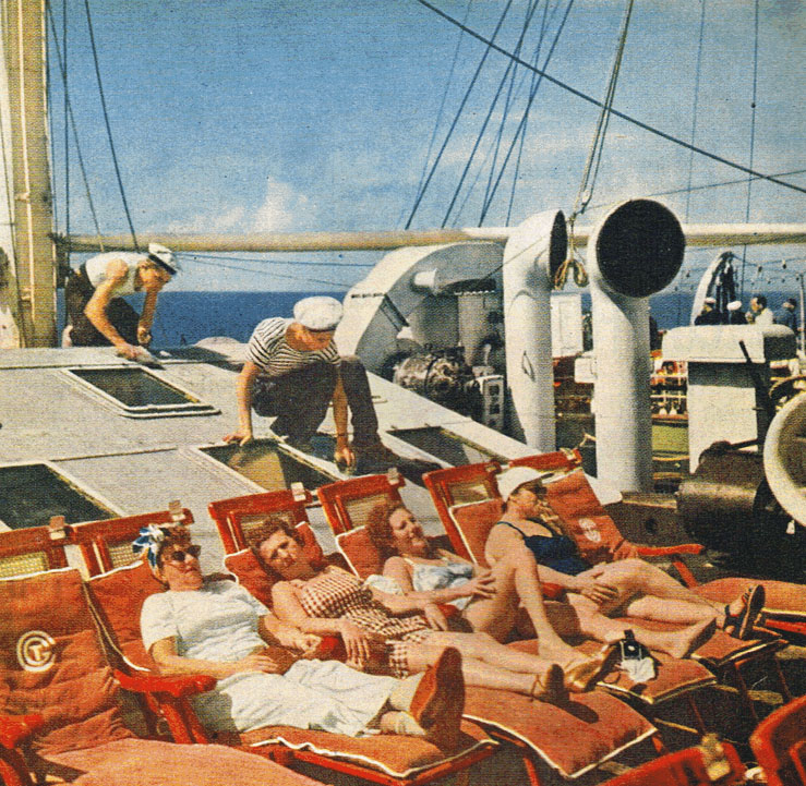 Passengers sun themselves on a summer trans-Atlantic sailing.