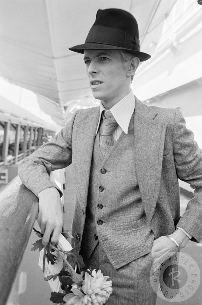 David Bowie arriving in New York aboard the Italian Line's Leonardo da Vinci....in the 1970s...