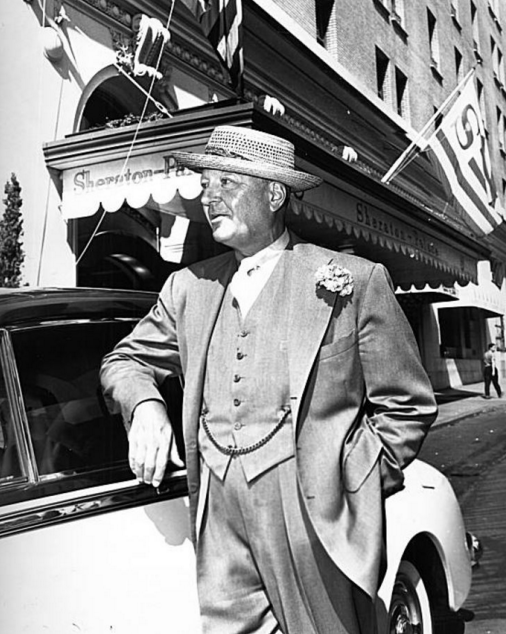 Beebe in front of the Palace Hotel in San Francisco...