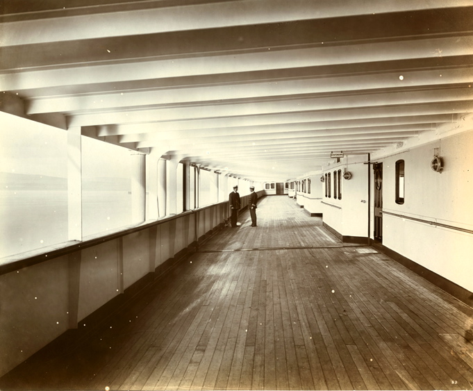 Deck B - First Class Promenade... Two officers seen in distance...