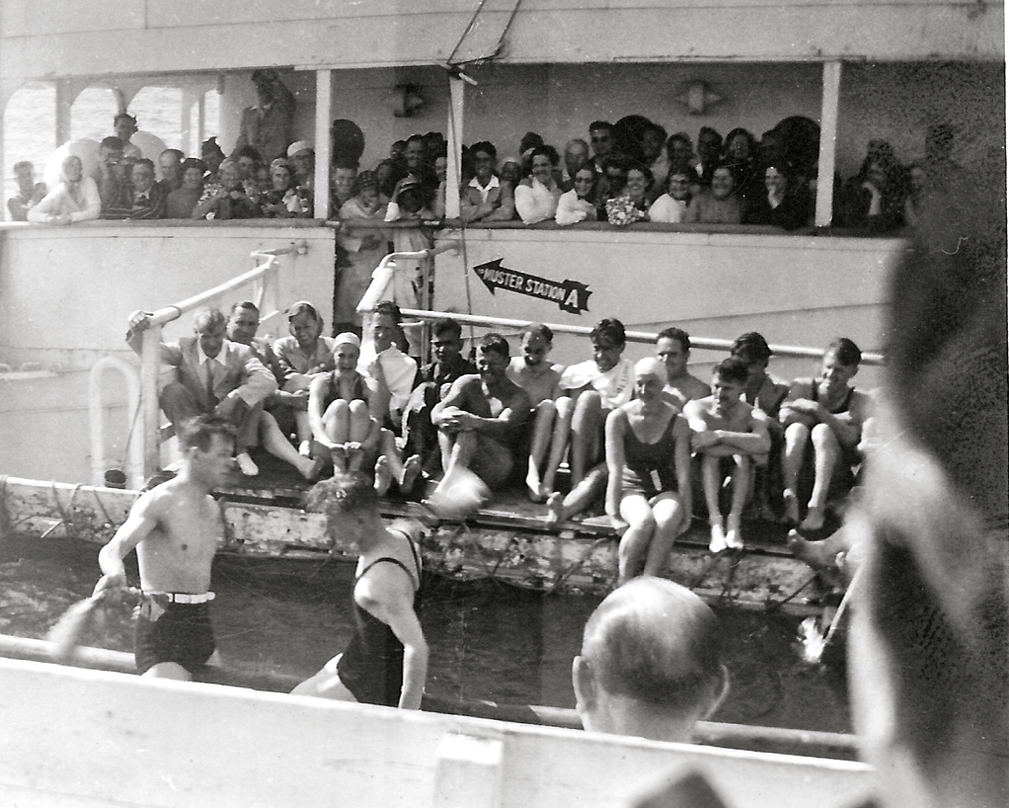 Swimming pool on board the RMS Lancastria in the 1930s on Mediterranean Cruise...