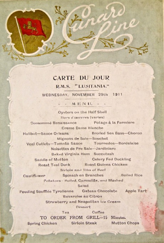 First Class Menu - Dinner