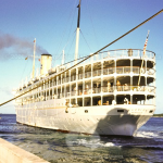 SS Florida sailing away from Miami to Havana, Cuba... 1950s...