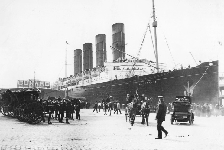 RMS Lusitania docked at Pier 54 in New York on maiden voyage. Sept 13, 1907...