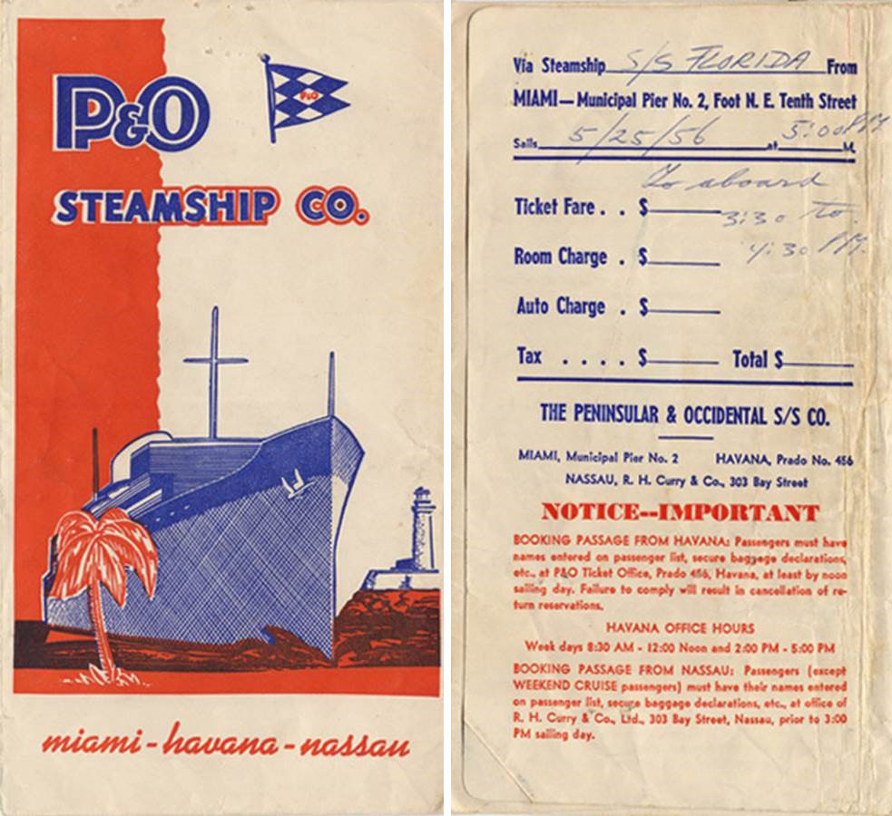 Ticket envelope for the SS Florida... 1950s...
