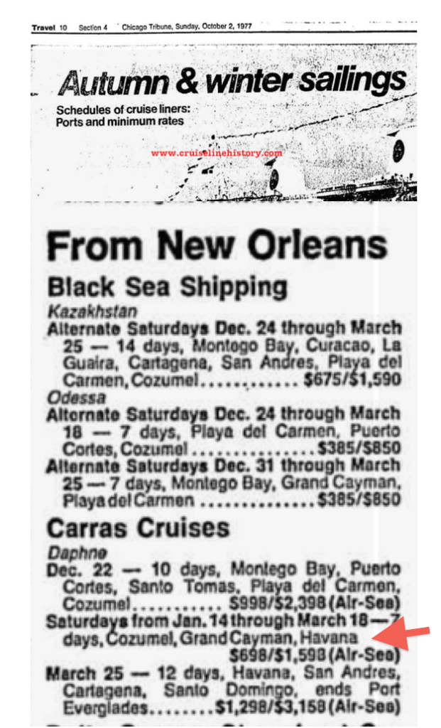 Chicago Tribune - Travel Section - October 1977 - Announcing Winter and Springs Cruises - Carras - Havana - Winter - Spring 1978