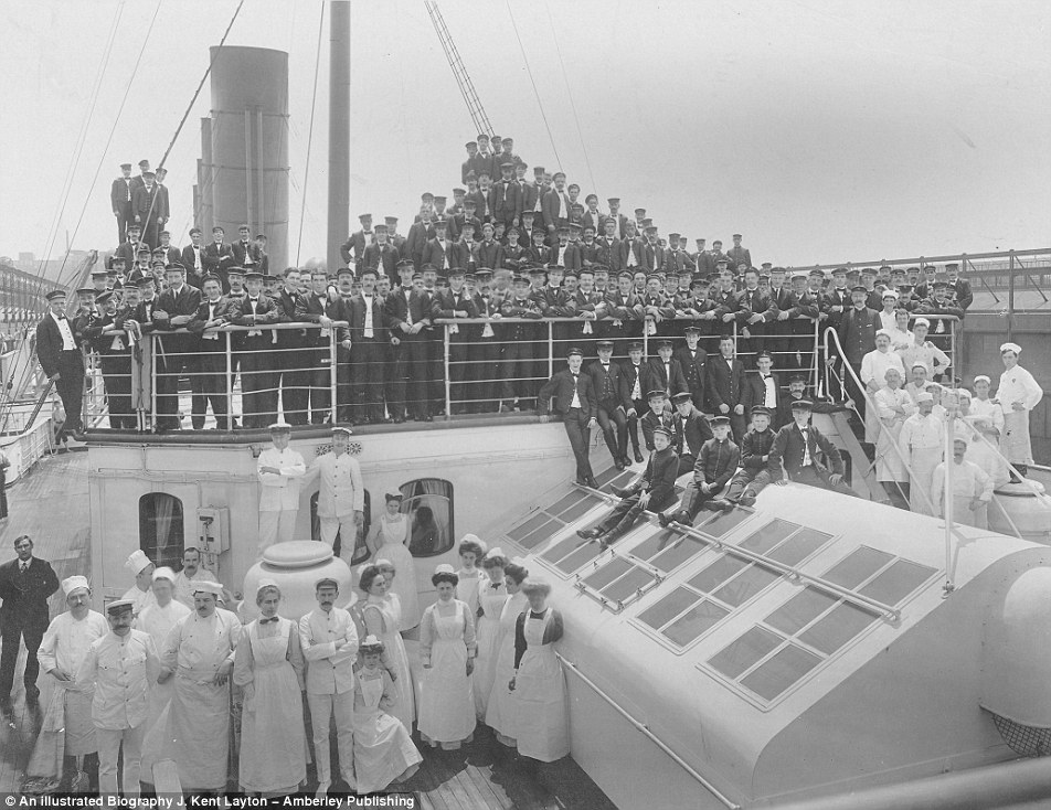 Officers, staff and crew aboard the ship.