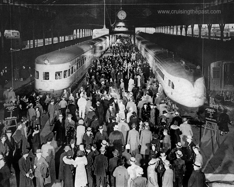 CITY OF SAN FRANCISCO streamliner left Oakland Pier terminal in two sections on January 2, 1938, when the new ultra-modern 17-car train was inaugurated to supplant the original 11-car train which had been in operation since June 14, 1936, for the SP-UP-C&NW between San Francisco and Chicago. Both trains carried capacity loads of holiday travelers. The original streamliner was assigned to other service after this trip.