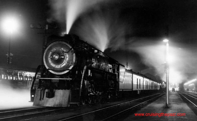 On a foggy night in 1951, the SP Klamath under the platform lights of Oakland Pier will soon depart for Portland.