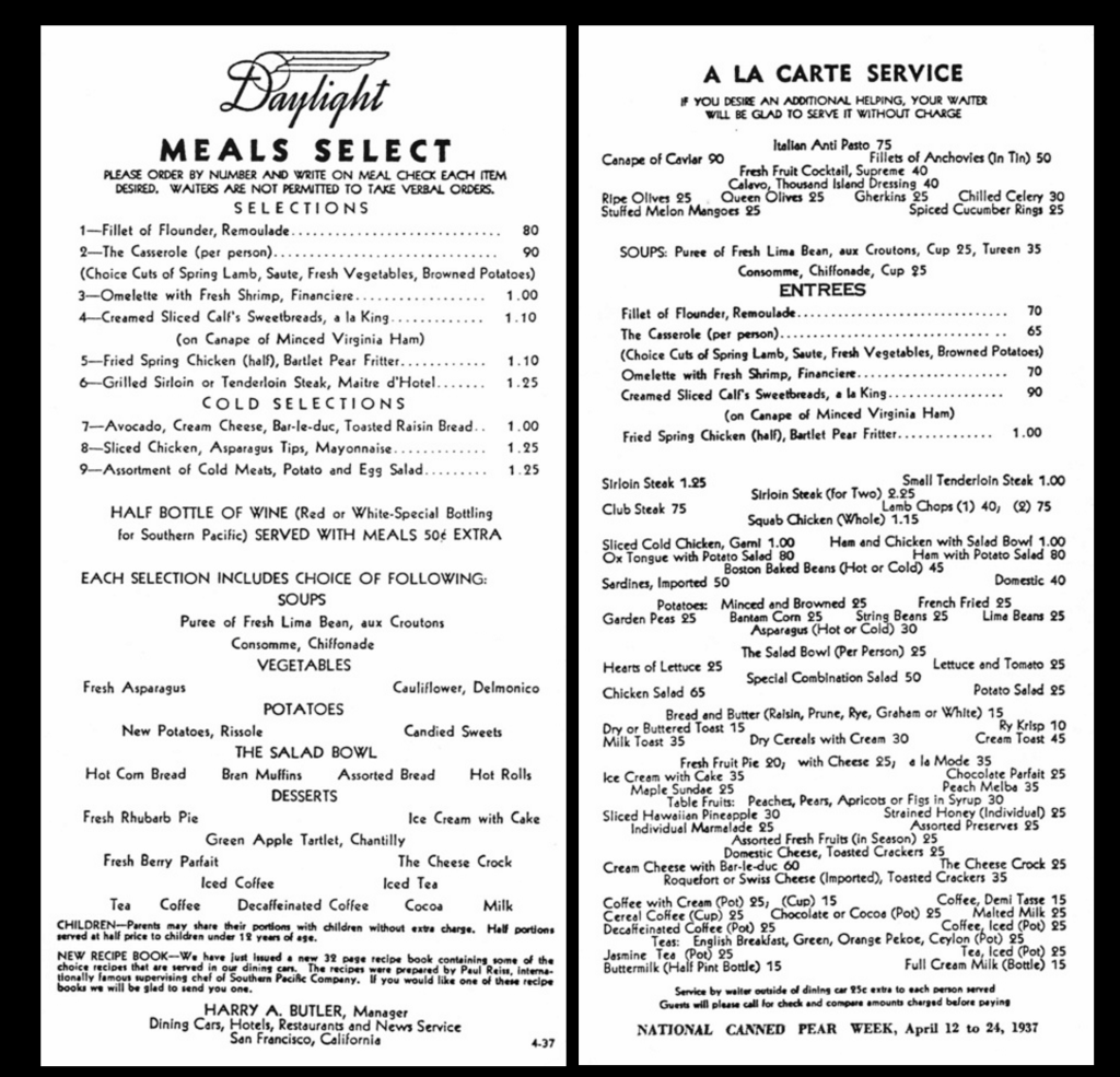 Luncheon Menu on the COAST DAYLIGHT. 1937 prices.