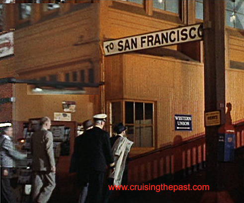 Passengers have just arrived on mid-1950s morning aboard the City of San Francisco from Chicago after a 39 1/2 hour trip (the fastest thing on wheels) and are heading to the ferry for a quick cruise across the bay to the San Francisco Ferry Building.