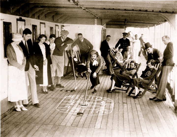 Passengers in the 1930s on board an a steamer cruising to Alaska.
