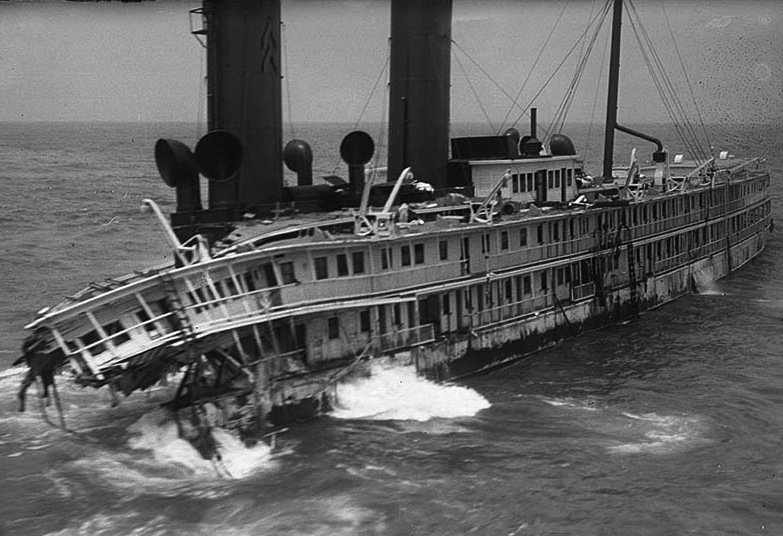 Wreck of S.S. Harvard is taken in aerial photo two weeks after the passenger ship ran agound in fog at Point Arguello. The forward third of ship had already broken off.