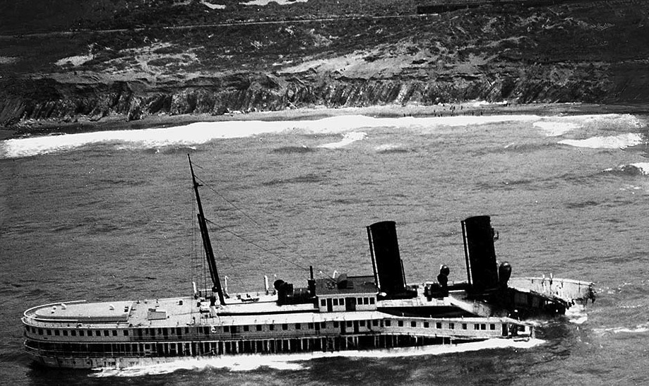 June 1931: Aerial photo of wreckage of S.S. Harvard after May 30, 1931 gounding in fog at Point Arguello.