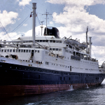 MS Caledonien in Sydney Harbor,  from the collection of Richard Francis (taken February 1970).